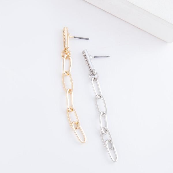 "Rhinestone Bar Oval Chain Link Drop Earrings.  - Approximately 2.25"" L"