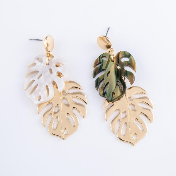 "Gold Resin Palm Leaf Statement Drop Earrings.  - Approximately 2.5"" L"