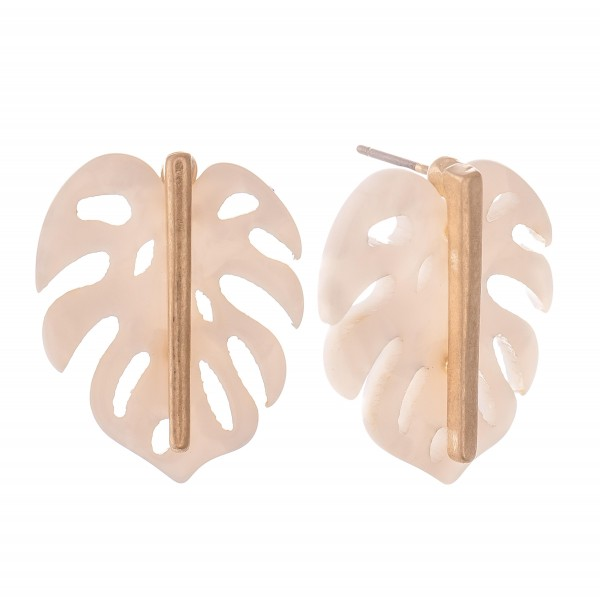"""Resin Palm Leaf Stud Earrings.  - Approximately 1"""""""