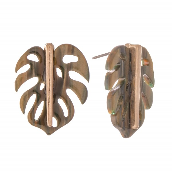 Resin Palm Leaf Stud Earrings.  - Approximately 1""