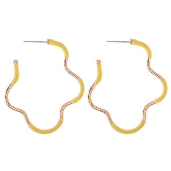 "Thread Wrapped Curvy Hoop Earrings.  - Approximately 1.5"" L"