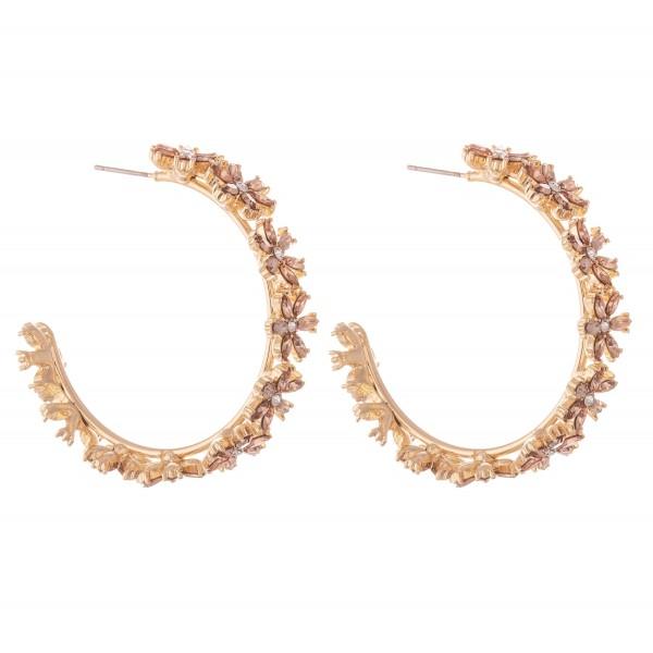 """Rhinestone Flower Statement Hoop Earrings.  - Approximately 1.75"""" in diameter"""