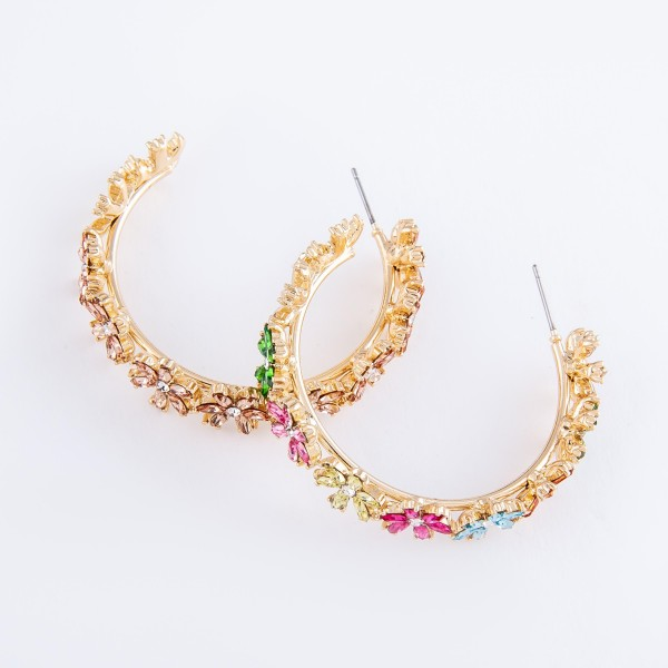 "Rhinestone Flower Statement Hoop Earrings.  - Approximately 1.75"" in diameter"