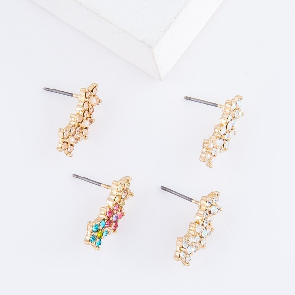 Rhinestone Star Ear Climber Earrings.  - Approximately .75""