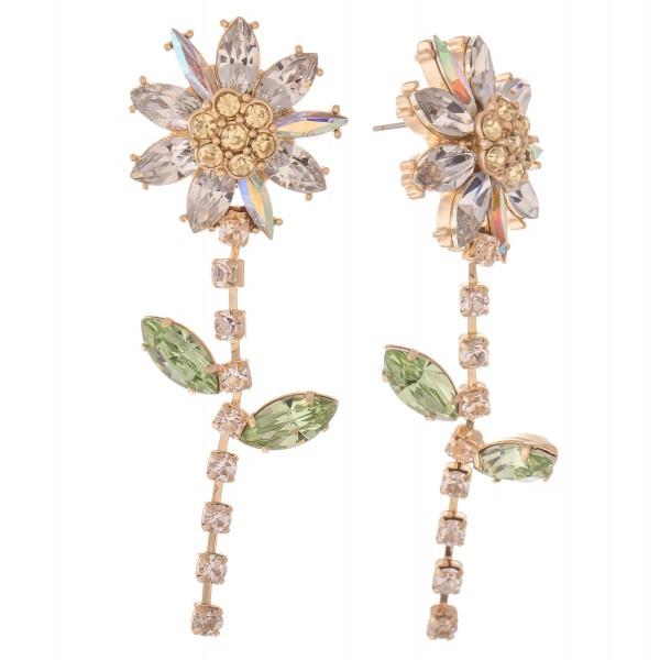 """Rhinestone Flower Statement Drop Earrings.  - Approximately 2.5"""" L"""