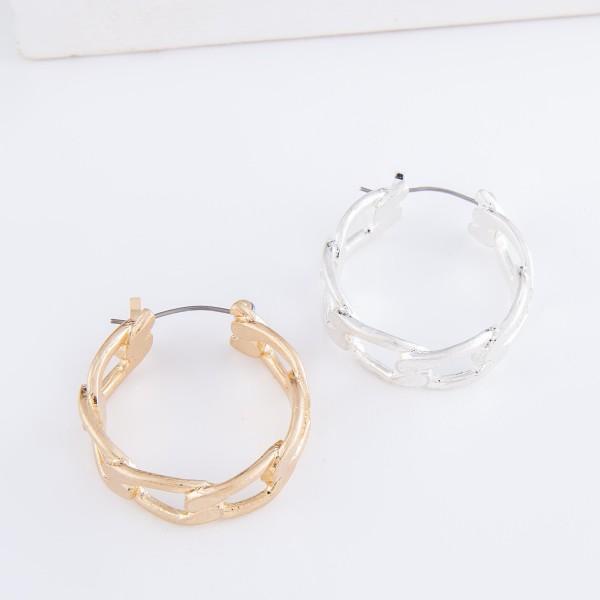 """Curb Chain Link Hoop Earrings.  - Approximately 1"""" in diameter"""