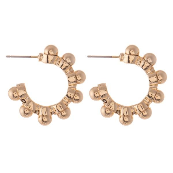 """Ball Bead Stud Hoop Earrings.  - Approximately 1"""" in diameter"""