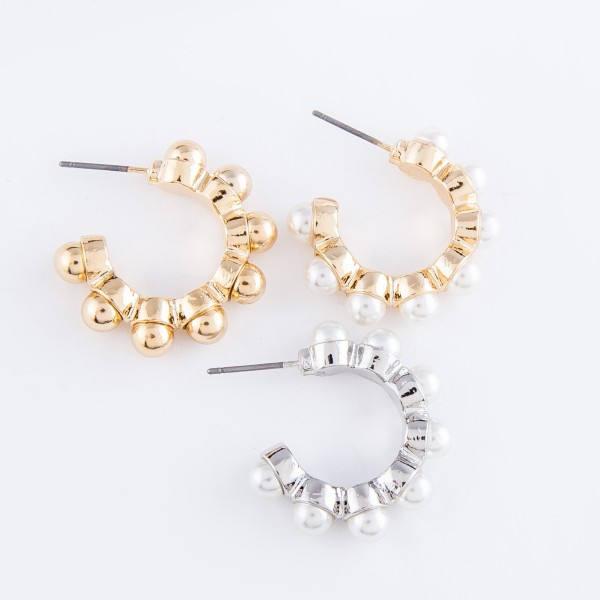 "Pearl Ball Bead Stud Hoop Earrings.  - Approximately 1"" in diameter"