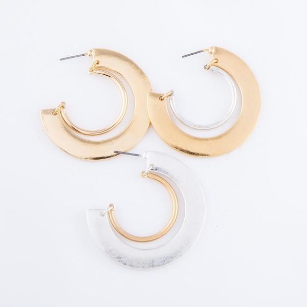 """Gold Flat Hinge Hoop Earrings.  - Approximately 1.5"""" in diameter"""