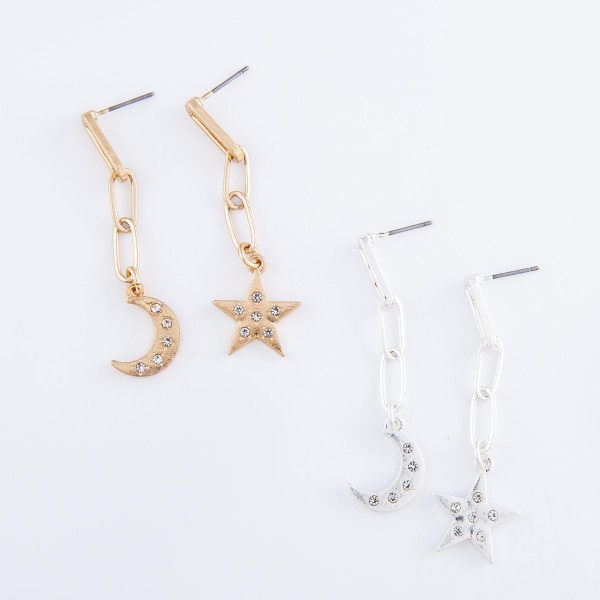 "Rhinestone Moon & Star Mix & Match Hera Link Drop Earrings.  - Approximately 2"" L"