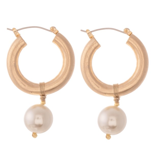 "Ivory Pearl Hoop Earrings with Wire Wrapped Detail.  - Approximately 1.5"" L - Hoop Thickness 6mm - Hoop Diameter 1"""