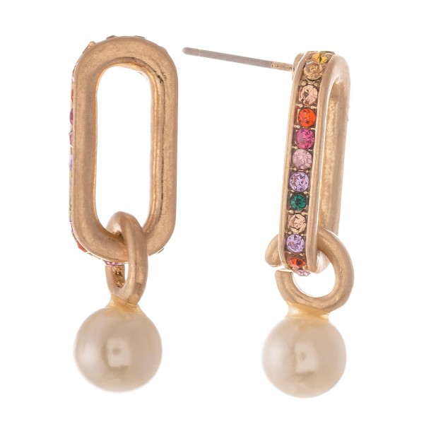 "Rhinestone Pearl Link Earrings.  - Approximately 1"" L  -"