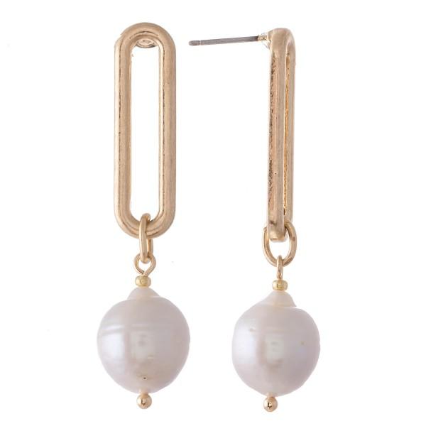"""Hera Pearl Link Drop Earrings.  - Approximately 1.5"""" L"""