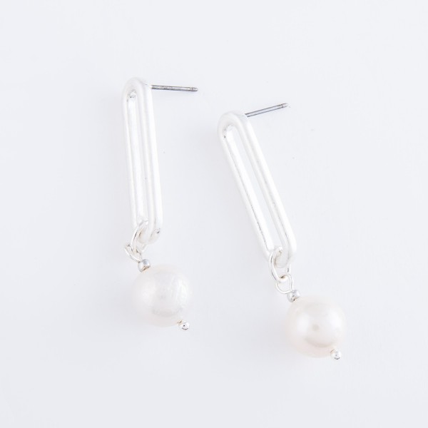 "Hera Pearl Link Drop Earrings.  - Approximately 1.5"" L"