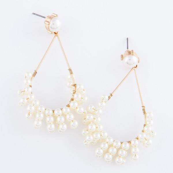 """Pearl Beaded Tassel Teardrop Earrings.  - Approximately 2"""" L"""
