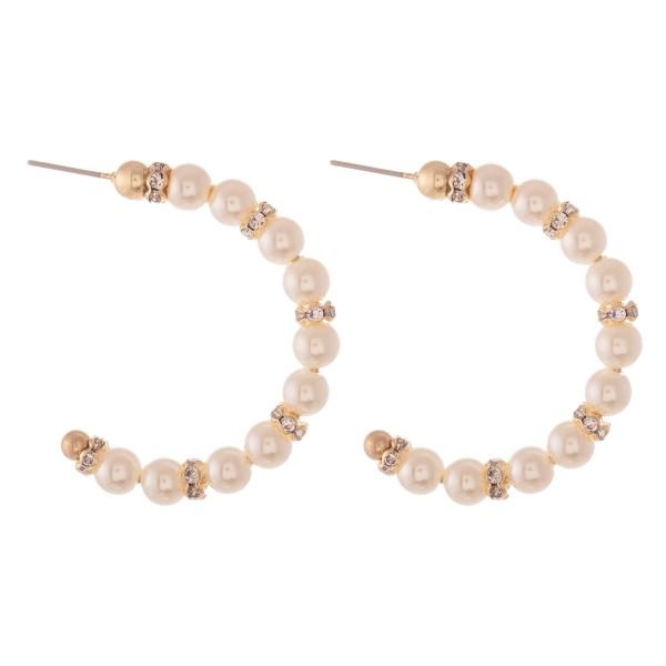 """Ivory Pearl Beaded Rhinestone Hoop Earrings.  - Approximately 1.5"""" in diameter"""