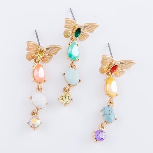"""Semi Precious Rhinestone Butterfly Drop Earrings.   - Approximately 1.5"""" L"""