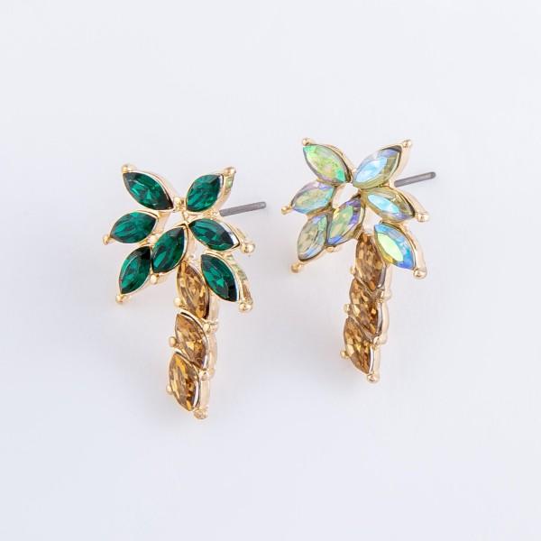 "Rhinestone Palm Tree Stud Earrings.  - Approximately 1"" L"