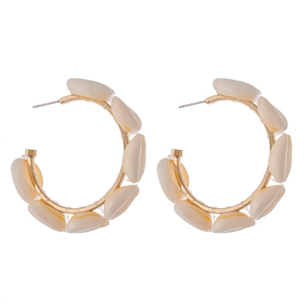 "Puka Shell Statement Hoop Earrings.  - Approximately 2"" in diameter"