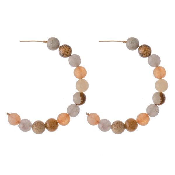 "Natural Stone Beaded Statement Hoop Earrings.  - Approximately 2.25"" in diameter"