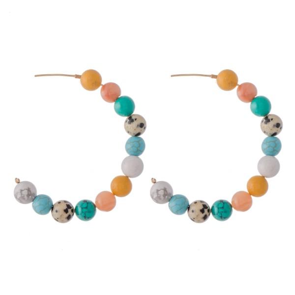 "Natural Stone Beaded Statement Hoop Earrings.  - Approximately 2.25"" in diameter"
