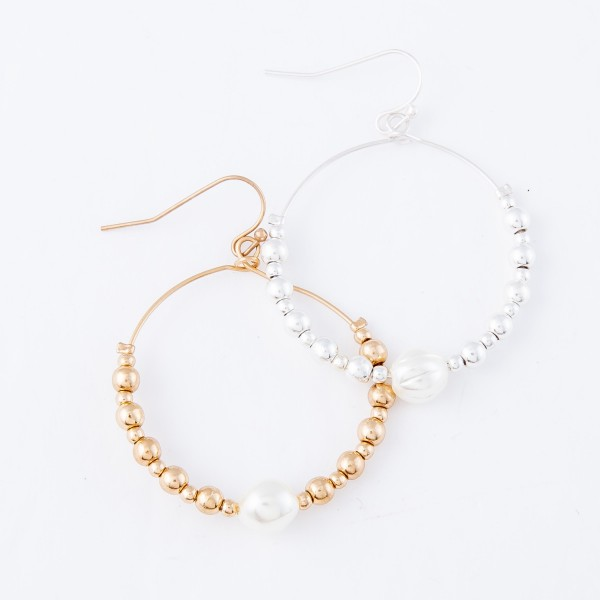 "Beaded Drop Earrings Featuring Pearl Detail.  - Approximately 2"" L  - 1.5"" in diameter"