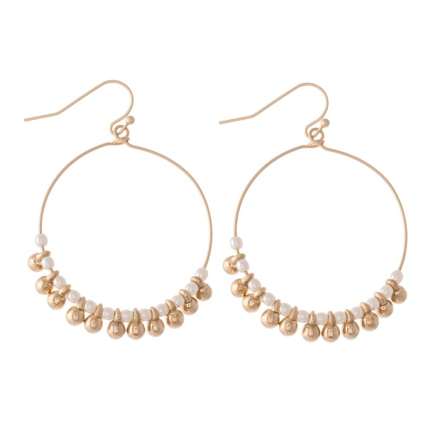 "Beaded Drop Earrings Featuring Pearl Accents.  - Approximately 2"" L  - 1.5"" in diameter"