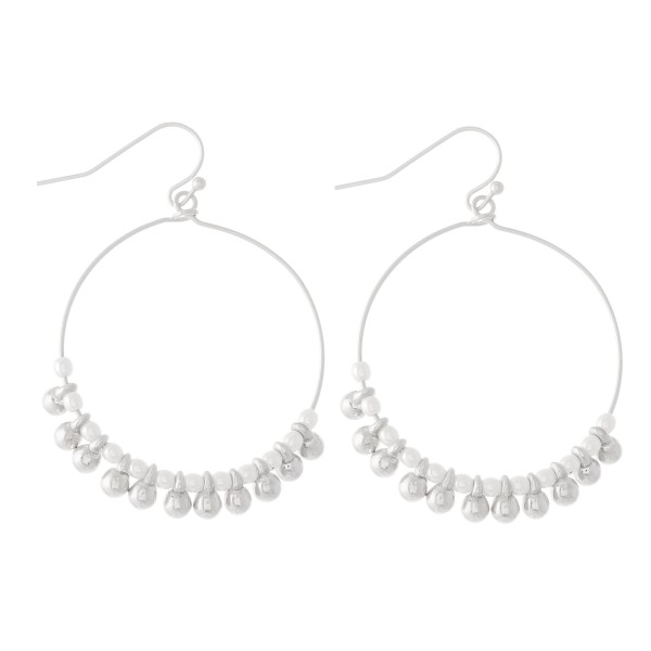 """Beaded Drop Earrings Featuring Pearl Accents.  - Approximately 2"""" L  - 1.5"""" in diameter"""