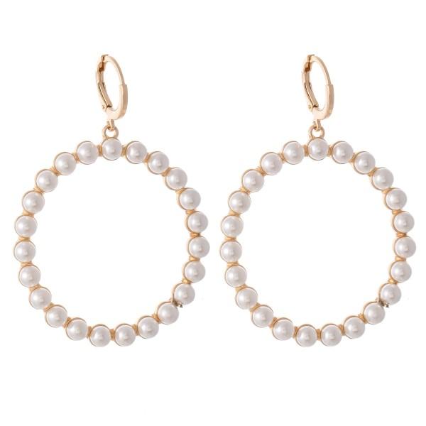 """Peal Beaded Huggie Hoop Drop Earrings.  - Approximately 2"""" L  - 1.75"""" in diameter"""