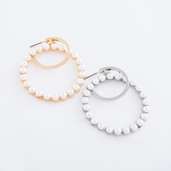 "Ivory Pearl nested drop hoop earrings.  - Approximately 2"" L  - 1.75"" in diameter"