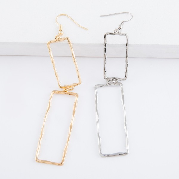 "Hammered rectangle linked drop earrings.  - Approximately 4"" L"