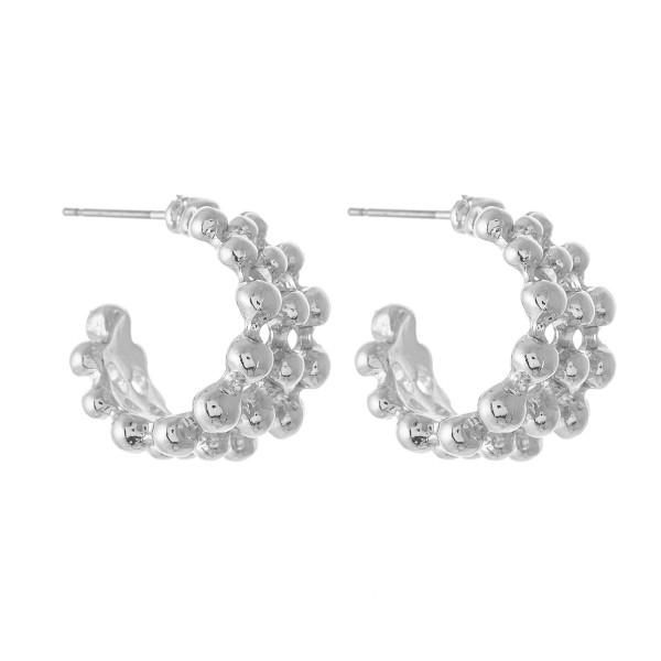 """Short Bead Textured Hoop Earrings.  - Approximately .5"""" in diameter"""