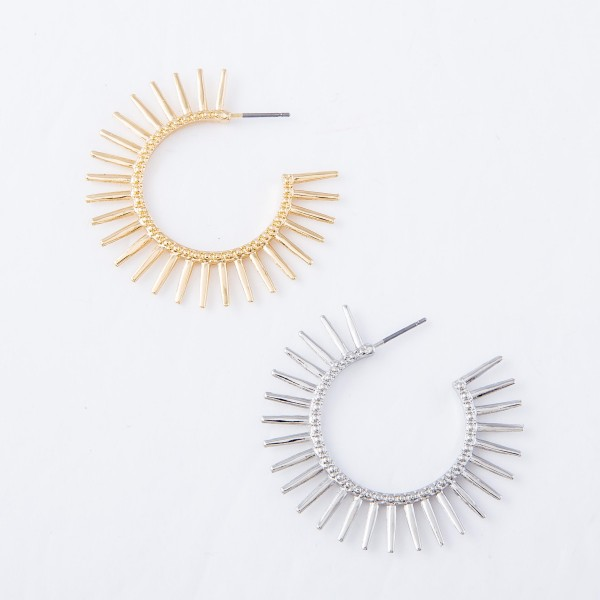"Sunburst Hoop Earrings.  - Approximately 1.75"" in diameter"