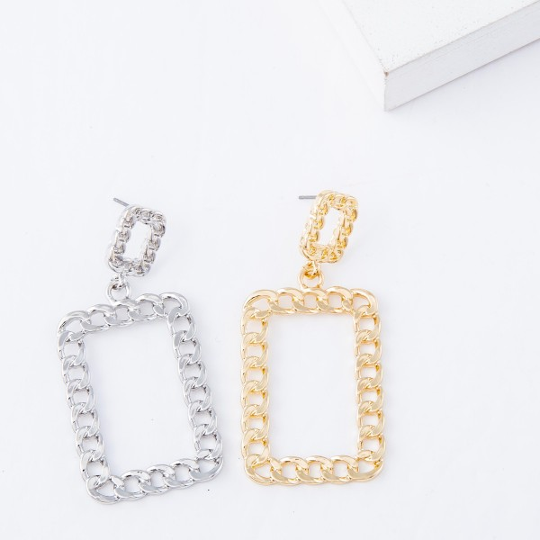 """Square Chain Link Drop Earrings.  - Approximately 2.25"""" L"""