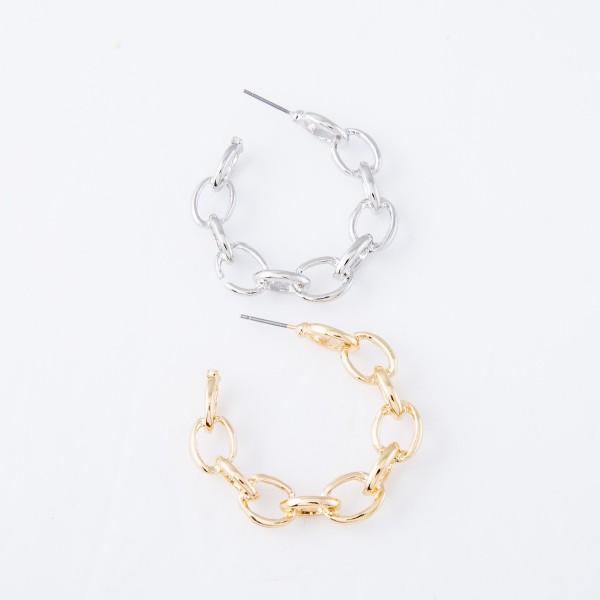 """Chain Link Hoop Earrings.  - Approximately 1.5"""" in diameter"""