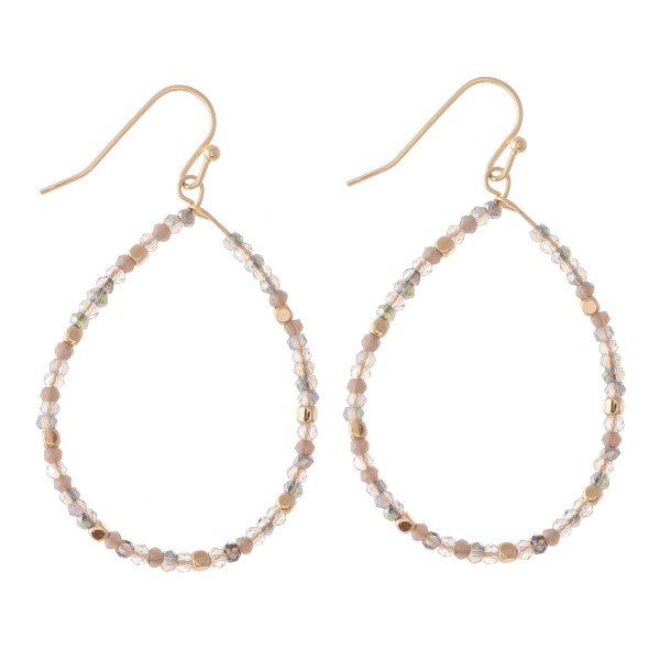 """Faceted Beaded Teardrop Earrings with Gold Detail.  - Approximately 2"""" L"""