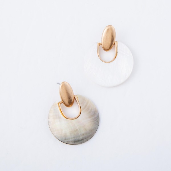 "Abalone Hinge Drop Earrings.  - Approximately 1.5"" L  - 1.5"" in diameter"