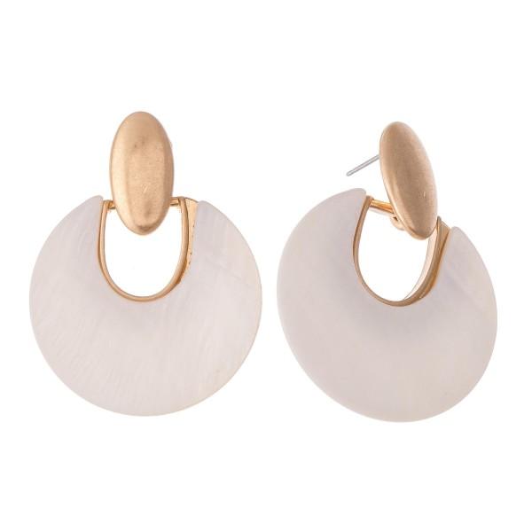 "Mother of Pearl Hinge Drop Earrings.  - Approximately 1.5"" L  - 1.5"" in diameter"