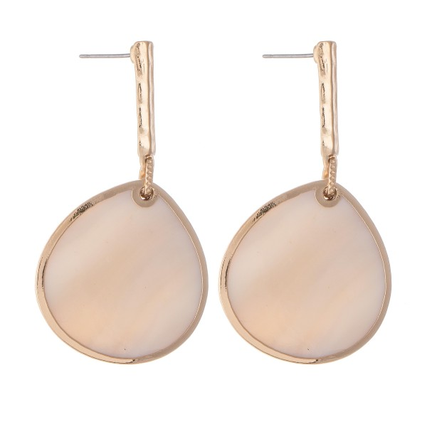 """Mother of Pearl Drop Earring with Bar Accent in Gold.  - Approximately 2"""" L"""