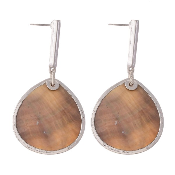 """Abalone Drop Earring with Bar Accent in Silver.  - Approximately 2"""" L"""