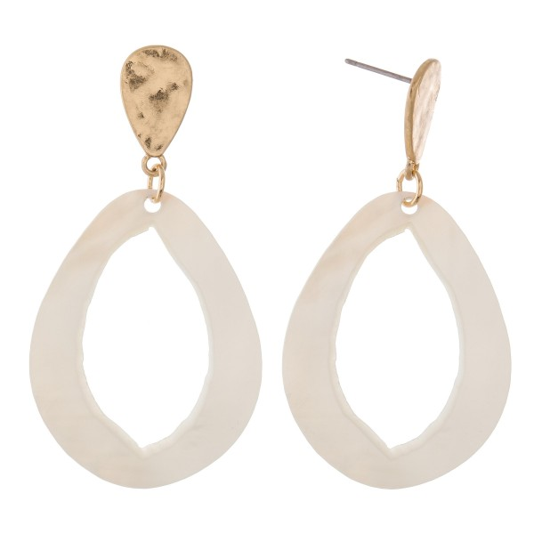 """Mother of Pearl cut out teardrop earrings.  - Approximately 2.5"""" L"""