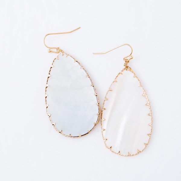 """Mother of Pearl Teardrop Earrings with Gold Trim.  - Approximately 2.25"""" L"""