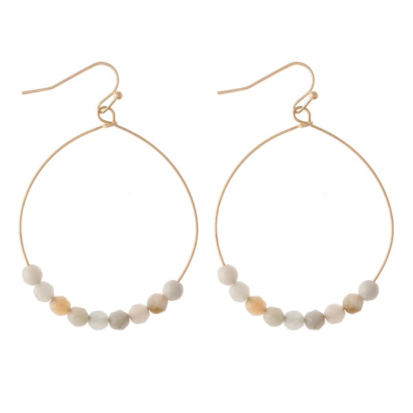 "Natural Stone Floater Beaded Drop Earrings.  - Approximately 2"" L  - 1.75"" in diameter"