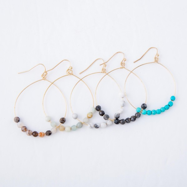"""Natural Stone Floater Beaded Drop Earrings.  - Approximately 2"""" L  - 1.75"""" in diameter"""
