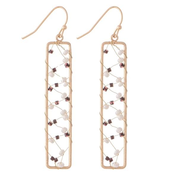"Wire Beaded Bar Drop Earrings.  - Approximately 2.5"" L"