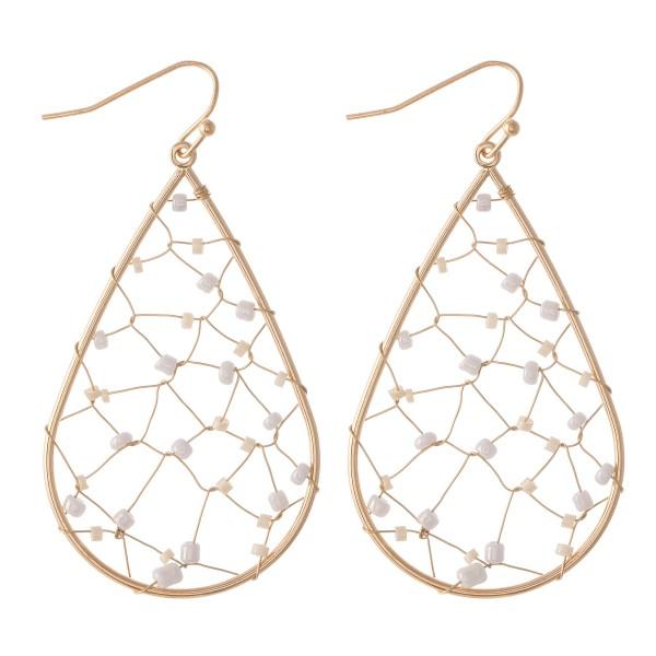 """Wire Beaded Teardrop Earrings.  - Approximately 2.25"""" L"""