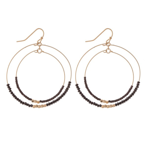 """Beaded Nested Circle Drop Earrings with Gold Accents.  - Approximately 2"""" L  - Approximately 2"""" in diameter"""