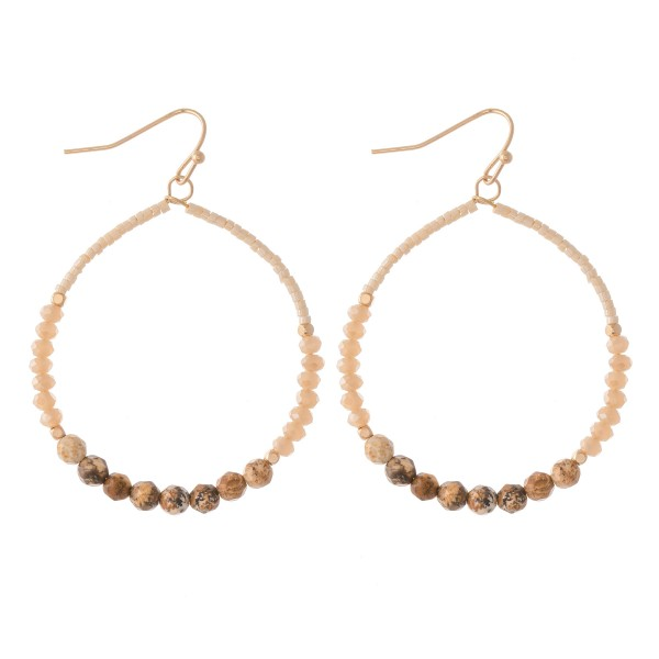"""Seed beaded Drop Earrings with Natural Stone Details.  - Approximately 2.5"""" L  - 2"""" in diameter"""