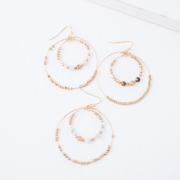 """Beaded Natural Stone Nested Drop Earrings.  - Approximately 2.25"""" L - 2"""" in diameter"""
