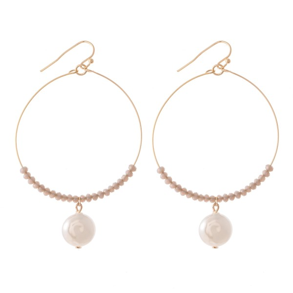 "Faceted Beaded Drop Earrings Featuring Pearl Detail.  - Approximately 2.5"" L - 2"" in diameter"
